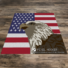 Load image into Gallery viewer, United States flag with an Eagle (Row by Row)