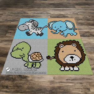 Zebra, Elephant, Turtle and Lion