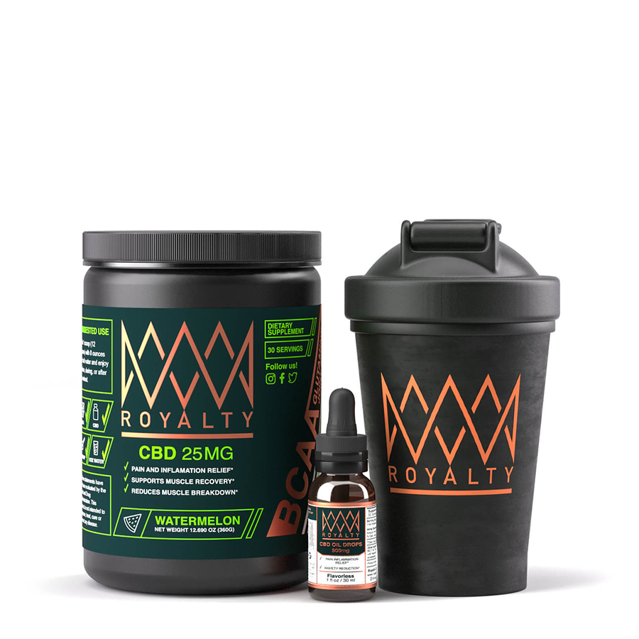 Royalty Recovery Bundle - CBD infused BCAAS & Pure CBD Drops, 1st Edition Royalty Shaker