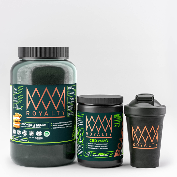 Royalty Training Bundle - CBD infused BCAAS & Vegan protein, 1st Edition Royalty Shaker