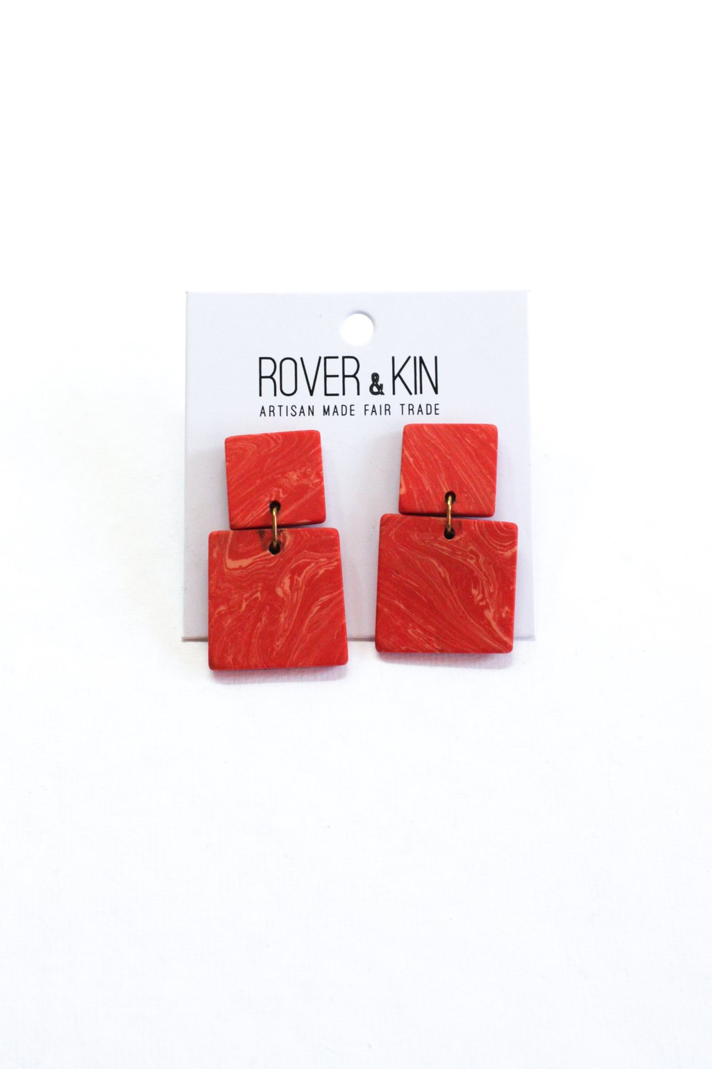 Square Marble Clay Earrings