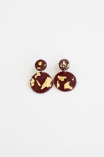 Crimson + Gold Clay Earrings