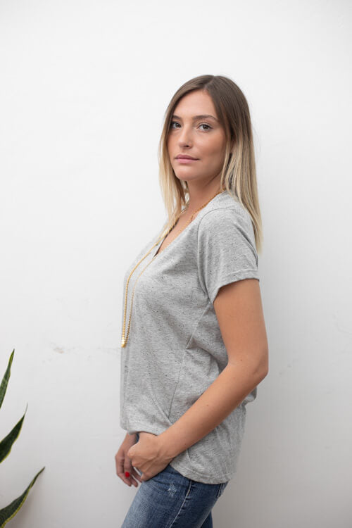 BASIC SHIRT - MIXED GRAY