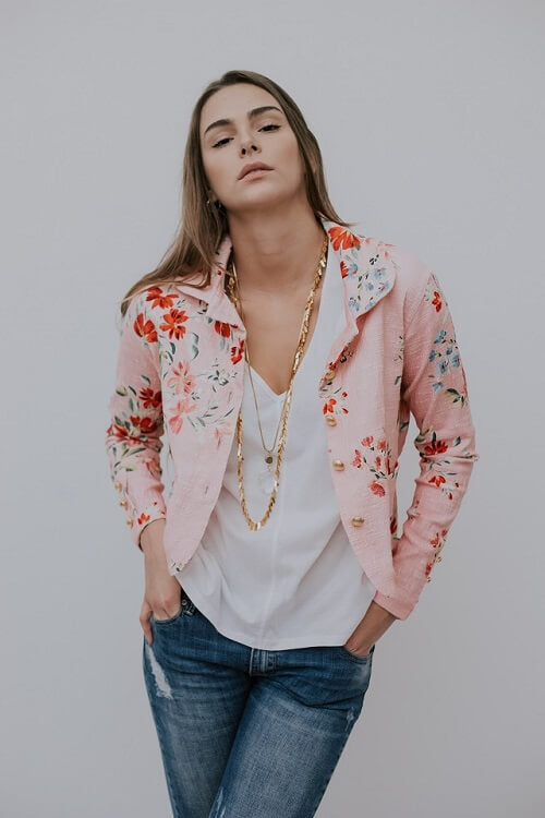 BUTTON JACKET - FLORAR PINK