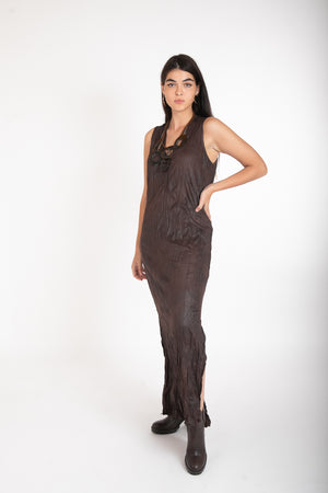 JENNIFER LEATHER DRESS - BROWN
