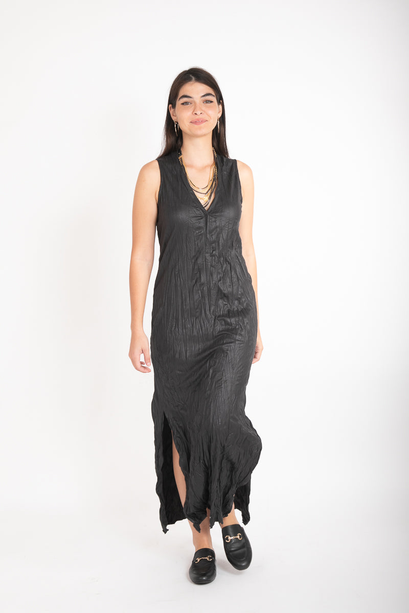 JENNIFER LEATHER DRESS - BLACK
