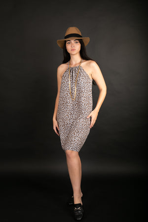 COLLAR LEOPARD DRESS