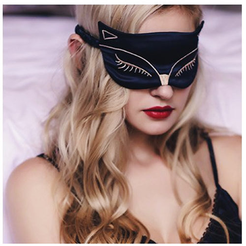 Cute Eye Mask for Sleeping - Natural Silk Sleep Mask & Blindfold for Women & Girls - Sexy Fox Night Eye Shade/Cover - Smooth Soft and Comfortable Sleeping Aid - Adjustable Strap