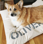Personalized Wolfii Dog Bed Cover in Pure Cream Canvas, SM to XL Covers for Dog Beds
