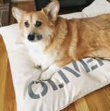 Personalized Dog Bed Cover in Pure Cream Canvas, SM to XL Covers for Dog Beds