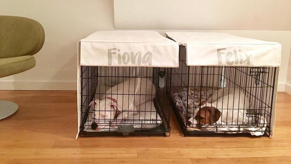 Personalized Dog Crate Cover and Dog Bed Cover COMBO in Pure Cream Canvas