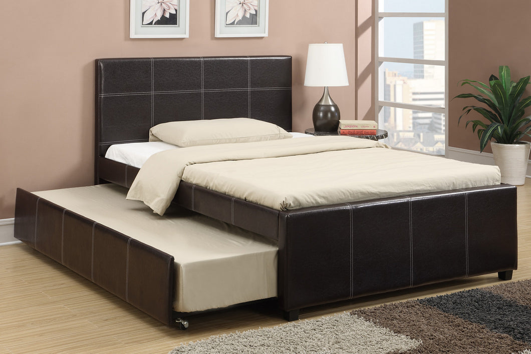 Full Size Trundle Bed In Faux Leather placed in raz outlets