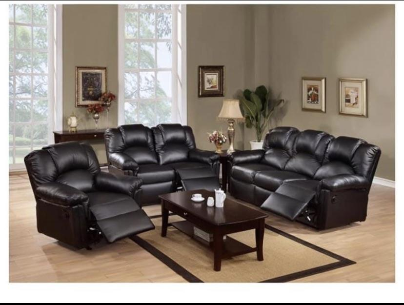 Faux Leather Reclining Sofa Set