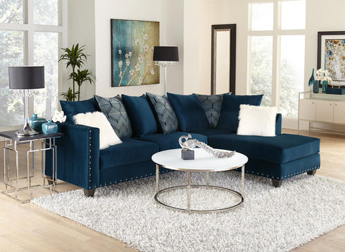 Chic Sectional Sofa in Blue Color With Accent Pillows - Placed in RAZOUTLETS
