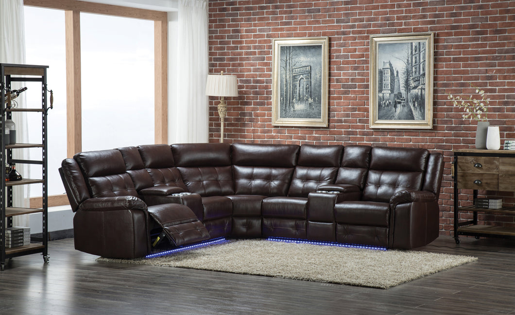 Brown Leather LED Sectional Sofa Set For Living Rooms