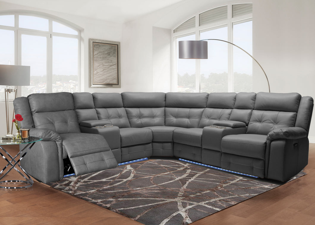Grey Leather LED Sectional Sofa - Furniture Store