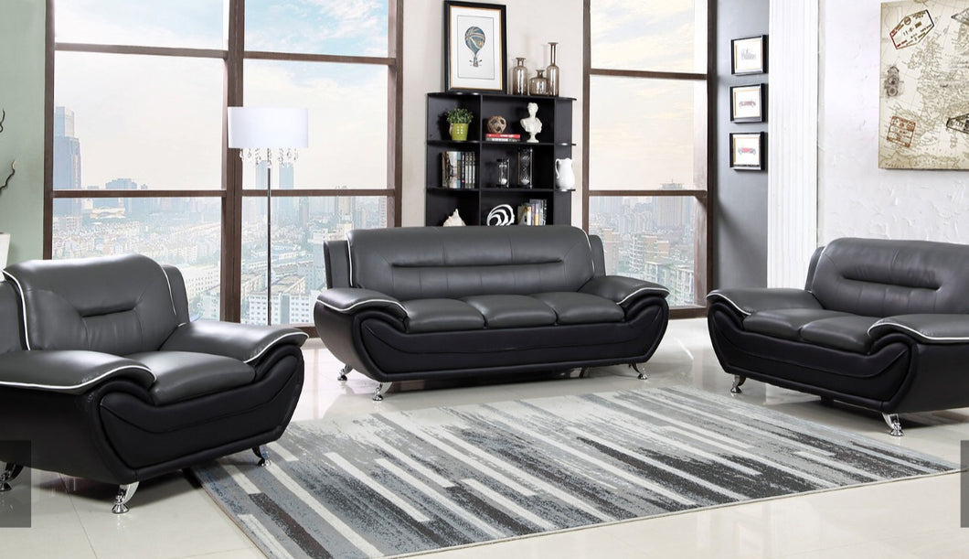 Pure leather sofa set in black and grey colors - RAZOUTLETS