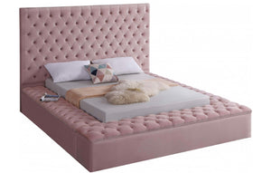 Modern Bliss Velvet Bed in pink color and queen size - RAZOUTLETS Furniture