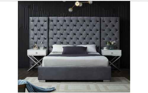 Grande Velvet Bed in grey color