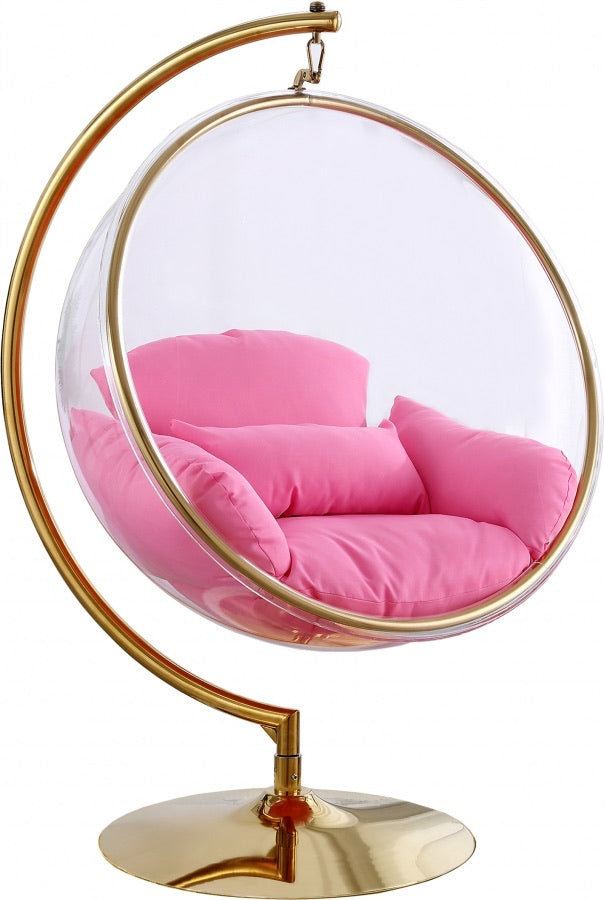Luna Acrylic Swing Bubble Accent Chair in pink color | RAZ Outlets Furniture