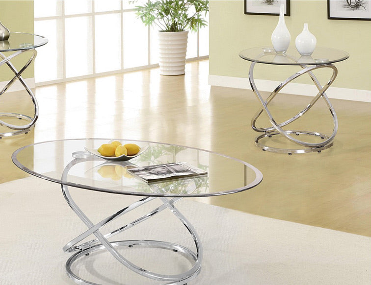 Oval Glass 3 Pieces Table Set