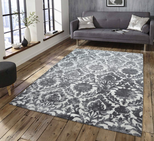 beautiful Designed Memory Grey shaggy rug