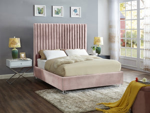 Candace Velvet bed By Meridian in blush color - razoutlets furniture