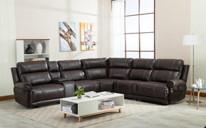 Brown Leather Reclining Sectional Sofa - Razoutlets furniture store