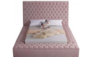 Modern Bliss Velvet Bed in pink color - RAZOUTLETS Furniture