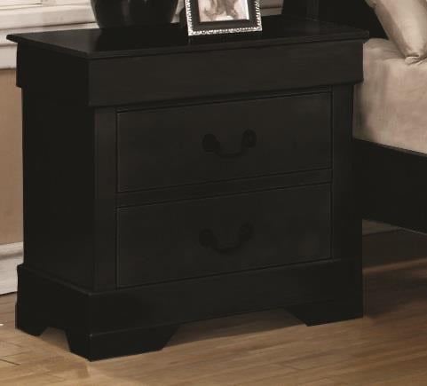 Nightstand In Two Colors Black and Cherry Wood