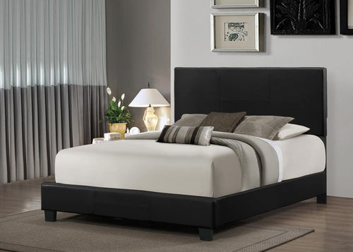 Black Leather Platform Bed in king, queen, twin and full sizes - RAZOUTLETS