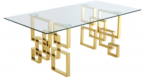 Pierre Gold Dining Table With Dashing Look