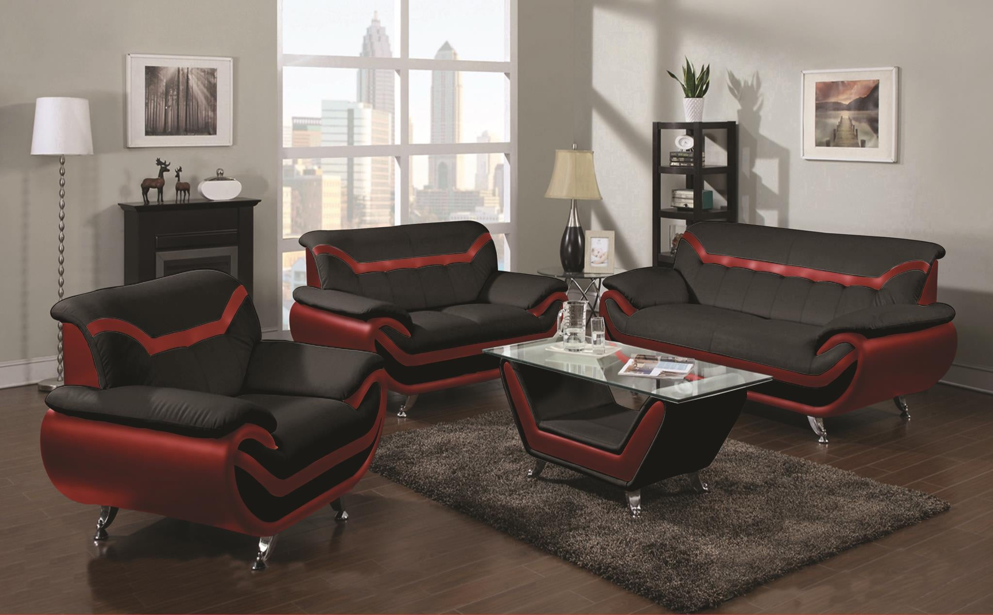 Black and red sofa set