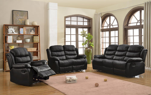 Black Leather Reclining Sofa Set - in razoutlets store