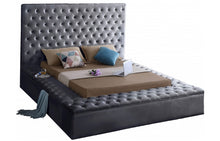 Modern Bliss Velvet Bed in grey color - RAZOUTLETS Furniture