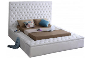 Modern Bliss Velvet Bed in white color