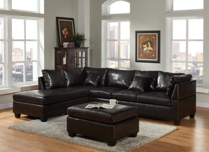 Black Pure Leather Sectional And Ottoman - RAZOUTLETS
