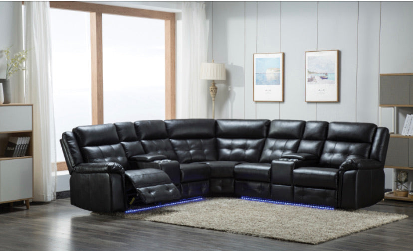 Black leather LED sectional sofa placed in RAZOUTLETS furniture store