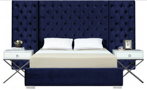 Grande Velvet Bed set in navy color