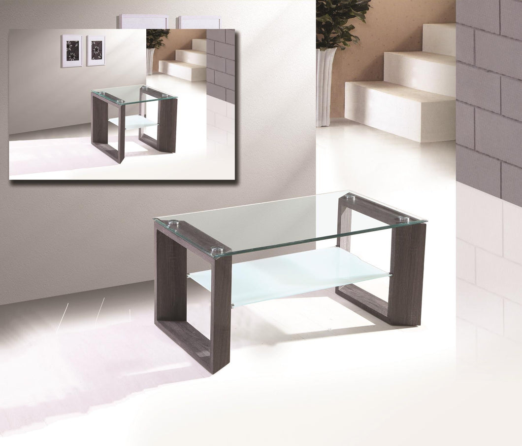 Beautiful Glass coffee table with Grey finish - RAZOUTLETS Furnotures