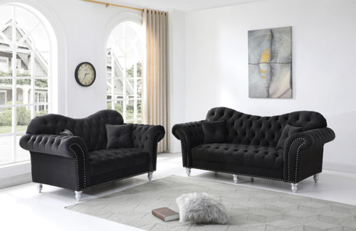 Black Glamour sofa set - RAZOUTLETS