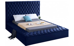Modern Bliss Velvet Bed in blue color and king size - RAZOUTLETS Furniture