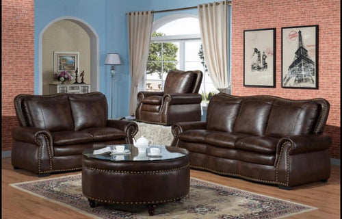 Pure Brown Leather Sofa Set - razoutlets
