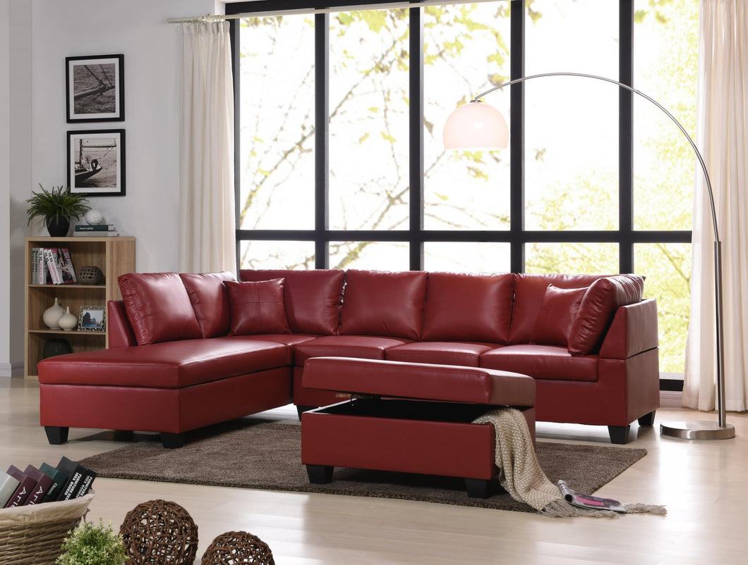 Pure Leather Sectional And Ottoman in red color