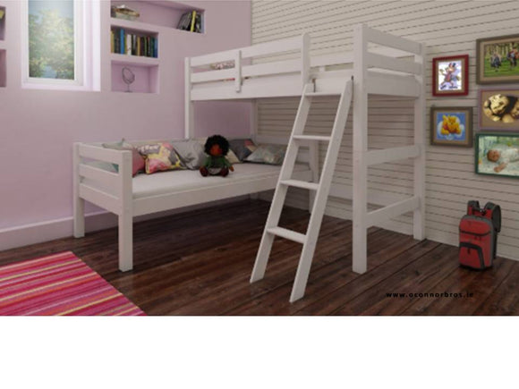 Corner Bunk Bed White with Two Mattresses