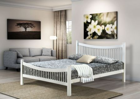Jordan Double 4ft6 WHITE Bed Frame WITH MATTRESS