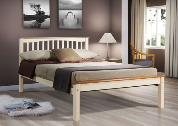 Sandra 4ft6 Beech Bed Frame Cream