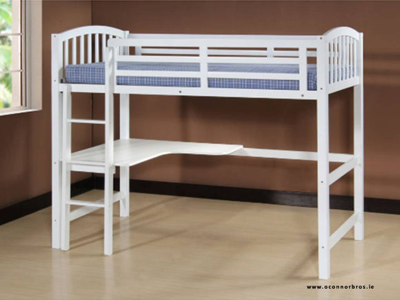 Study Bunk Bed White With Mattress