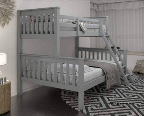 Triple Bunk Bed | Grey | With Two Mattresses