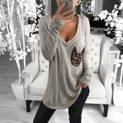 Casual v-neck solid color patch pocket long-sleeved loose top